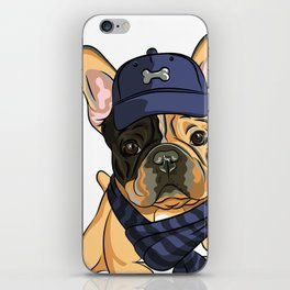 Cute puppy pug in baseball hat and scarf. iPhone Skin