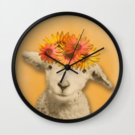 Daisies Sheep Girl Portrait, Mustard Yellow Texturized Background Wall Clock