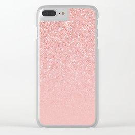 Rose Gold Glitter Cascade Clear iPhone Case