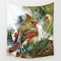 cardinal Wall Tapestries featuring Female Cardinal by Christina Rollo