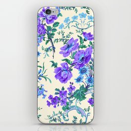 Teal, Blue, Green and Cream Floral iPhone Skin
