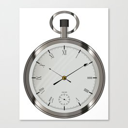 Silver Pocket Watch Canvas Print