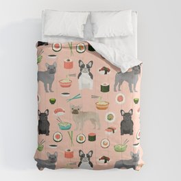 frenchie sushi cute funny dog breed pet pattern french bulldog Comforters
