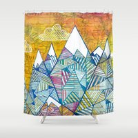 maps Shower Curtains featuring Maps and Mountains by Rookery Design