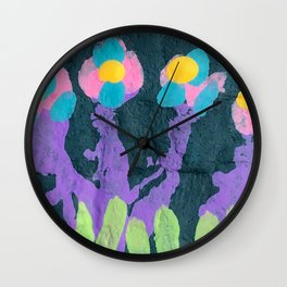 Painted Flowers 1 Wall Clock
