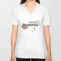 rabbits V-neck T-shirts featuring Camping Rabbits by Emma Traynor
