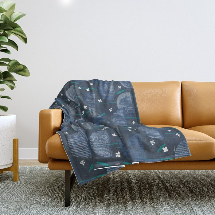 Botanical Block Print M+M Navy by Friztin Throw Blanket