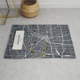 Houston Texas City Map with GPS Coordinates Rug