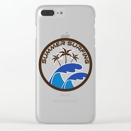 Fresh Hawaiian Style Tshirt Design Summer Surfing Clear iPhone Case