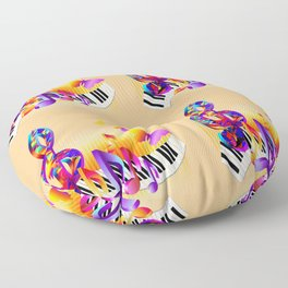 Music notes colorful design Floor Pillow