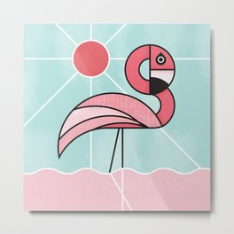 Pink Flamingo Abstract Design Metal Print