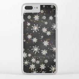 Boho Black Snowflakes Clear iPhone Case