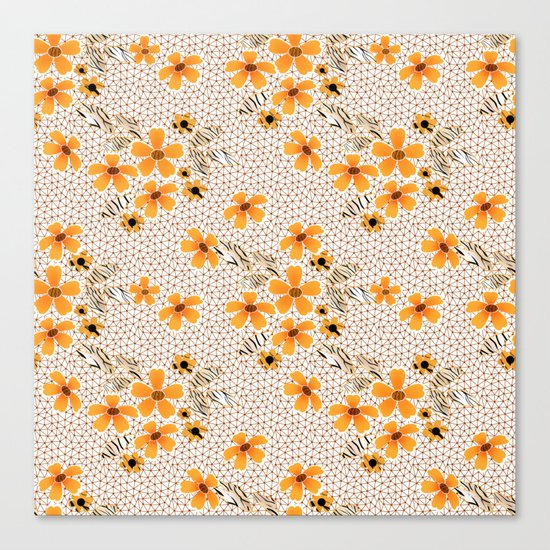 The floral pattern on the grid . Canvas Print
