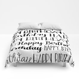 Happy Birthday | Black and White Pattern Comforters
