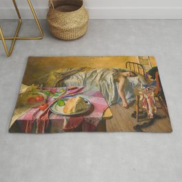 Men Are Dogs (The Morning After Friday Night), female portrait painting by Isabel Codrington Rug