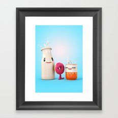 Happy Breakfast - Milk and Donut Framed Art Print