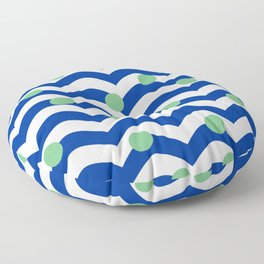 blue dotted waves Floor Pillow