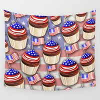 cupcakes Wall Tapestries featuring USA Flag Cupcakes Pattern by BluedarkArt
