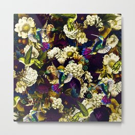 hummingbird paradise ethereal autumn flower pattern fn Metal Print