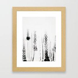 Black & white flower field illustration Framed Art Print