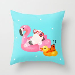Cory cats in the swimming pool 2 Throw Pillow