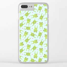 Kawaii Happy Frogs on Blue Clear iPhone Case
