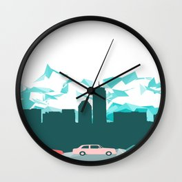 City, mountain and cars Wall Clock