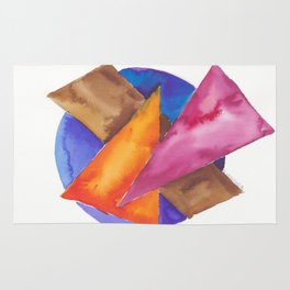 180819 Geometrical Watercolour 6| Colorful Abstract | Modern Watercolor Art Rug