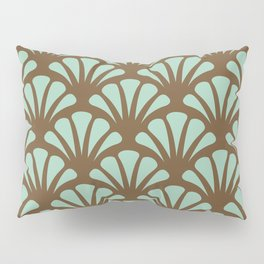 Brown and Mint Green Deco Fan Pillow Sham
