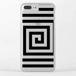 2 Color Square Spiral Clear iPhone Case