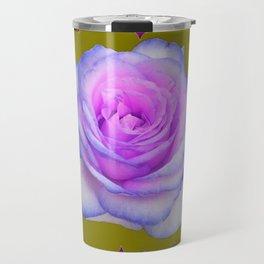 PINK-BLUE TINGED ROSES ON KHAKI COLOR Travel Mug