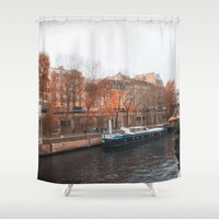senna Shower Curtains featuring Paris In Fall by cinema4design