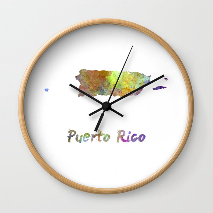 Puerto Rico  in watercolor Wall Clock
