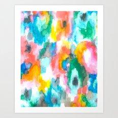 Paradise Watercolor Ikat Art Print