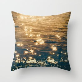 Sparkling Ocean in Gold and Navy Blue Throw Pillow