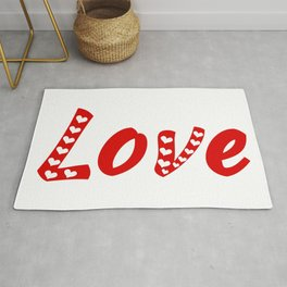 Love typography, love, romantic, heart Rug