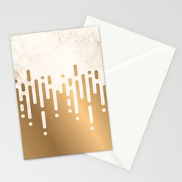 Marble and Geometric Diamond Drips, in Gold Stationery Cards
