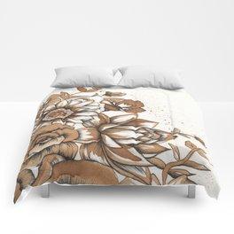 Coffee Art- Flowers Comforters