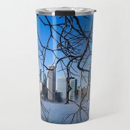 Chicago Skyline Through Nature's Hands Travel Mug