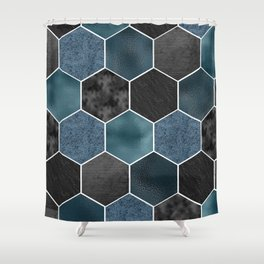 Midnight marble hexagons Shower Curtain