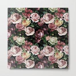 Vintage & Shabby chic - dark retro floral roses pattern Metal Print