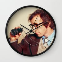 woody allen Wall Clocks featuring WOODY ALLEN by VAGABOND