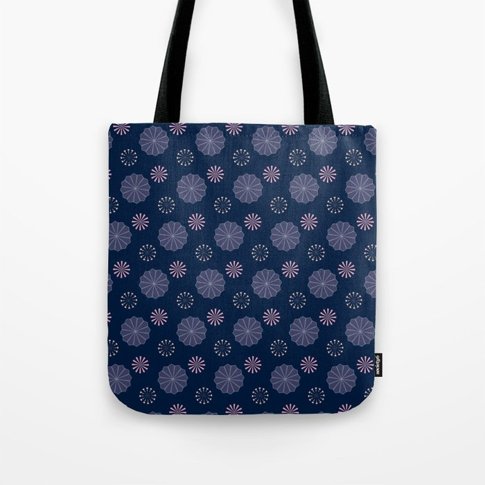 Pink and Blue Flowers on Dark Blue Tote Bag
