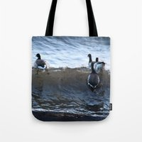 ducks Tote Bags featuring Ducks by Alex Dodds