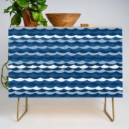 Classic Blue Wave Pattern Credenza