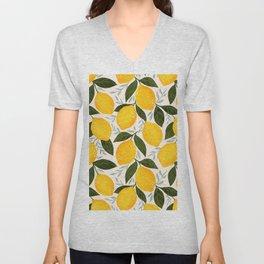Mediterranean Summer Lemons Pattern Unisex V-Neck