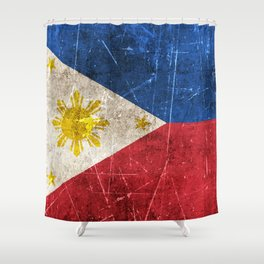 Vintage Aged and Scratched Filipino Flag Shower Curtain