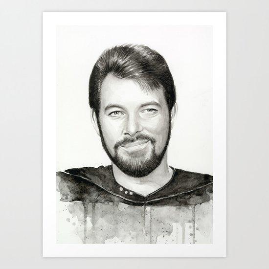 Commander William Riker TNG Sci-fi Portrait Art Print