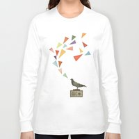 radio Long Sleeve T-shirts featuring Pigeon Radio by Cassia Beck