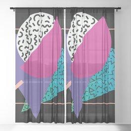 Memphis pattern 39 - 80s / 90s Retro Sheer Curtain